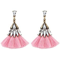 Pink Vintage Crystal Embellished Tassel Drop Earrings ($2.57) ❤ liked on Polyvore featuring jewelry and earrings