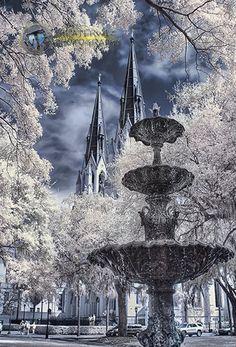 Lafayette Square Savannah Infrared Fine Art  Photo Print