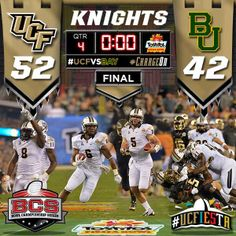 UCF won the 2014 Tostitos Fiesta Bowl by defeating Baylor, 52-42