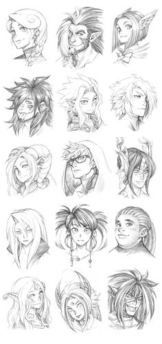 150827 - Headshot Commissions Sketch Dump 2 by Runshin