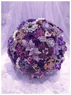Purple Rich Classic Bridal Brooch Bouquet. Deposit on Purple Silver Gold Champagne Pearl Crystal Wedding Broach Bouquet