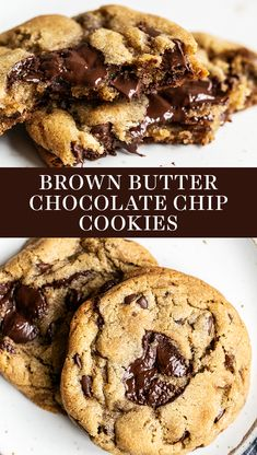 The BEST chewy gooey and crunchy Brown Butter Chocolate Chip Cookies are loaded with tasty flavor and will surely become your new favorite easy cookie recipe! No mixer required for this from scratch recipe. - Chocolate Chip - Ideas of Chocolate Chip Brown Butter Cookies, Gooey Chocolate Chip Cookies, Chocolate Cookie Recipes, Homemade Chocolate, Gooey Cookies, Chocolate Chocolate, Cookie Recipe No Butter, Cookies Soft, Healthy Chocolate