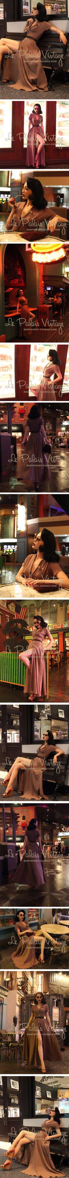 le palais vintage retro classic shirt collar a small elegant oversized swing skirt Slim 0.3-Taobao