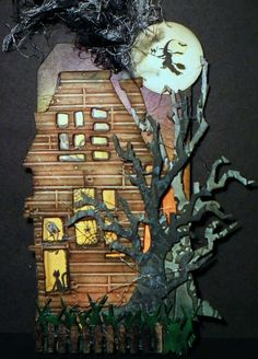 Tim Holtz Haunted House Die with spooky tree and fence /Halloween Tag… Halloween Paper Crafts, Halloween Tags, Halloween Projects, Halloween House, Holidays Halloween, Vintage Halloween, Halloween Decorations, Halloween Prop, Halloween Witches