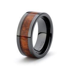 Black Ceramic Ring Rose Wood inlay 9mm Mens Wedding by carat323