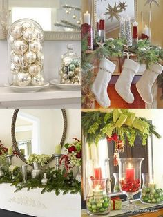 Lots of mantle decorating ideas for Christmas.