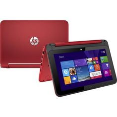 """HP - Pavilion x360 2-in-1 11.6"""" Touch-Screen Laptop - Intel Pentium - 4GB Memory - 500GB Hard Drive - Brilliant Red"""