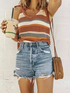 casual outfits for winter . casual outfits for work . casual outfits for women . casual outfits for school . Cute Summer Outfits, Cute Casual Outfits, Spring Outfits, Casual Shorts Outfit, Casual Summer Clothes, Summertime Outfits, Summer Clothing, Outfit Ideas Summer, High Waisted Shorts Outfit