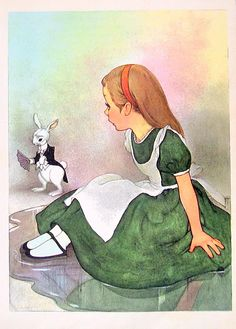 1955 Alice In Wonderland by Lewis Carroll illustrated by Marjorie Torrey Book Plate Alice and the Rabbit.