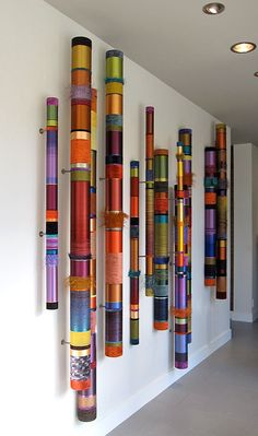 The Artwork of Myra Burg – Oboes – Linear Installations - Modern Wall Sculptures, Sculpture Art, Art Diy, Craft Art, Craft Ideas, Stick Art, Ideias Diy, Painted Sticks, Installation Art