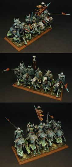 Black Knights unit - painted for Vampire Counts, Warhammer Fantasy Battle - but can work for Age of Sigmar if need be. Right now they belong to the Deathrattle faction in Death Grand Alliance. Warhammer Armies, Warhammer Aos, Warhammer Fantasy, Warhammer Figures, Warhammer Paint, Vampires, Warhammer Vampire Counts, Skeleton Warrior, Stormcast Eternals