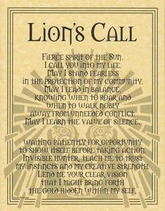 Lion Call Poster Parchment Page Spirit Guide Wicca Parchment Book of Shadows