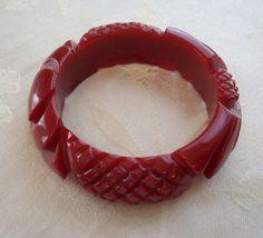 Vintage Sunflower Carved Bakelite Bracelet on Ruby Lane