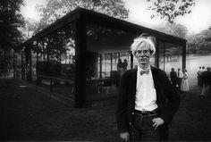 Andy Warhol, outside Philip Johnson's glass house