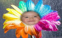 Fotomontaje de rostro en una flor multicolor