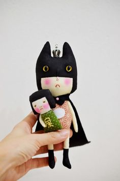 The Cat Queen handmade oak doll by EEchingHandmade on Etsy