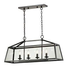 Island Light with Clear Glass in Oil Rubbed Bronze Finish at Destination Lighting