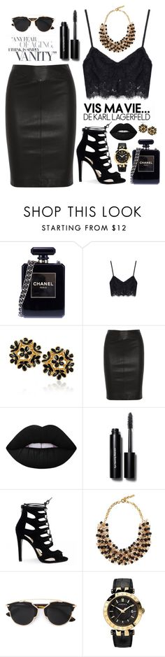 """""""Black and gold"""" by dianav8 ❤ liked on Polyvore featuring Chanel, Joseph, Lime Crime, Bobbi Brown Cosmetics, Etro, Christian Dior and Versace"""