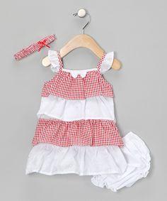 Coney Island Kids  Red & White Gingham Dress Set
