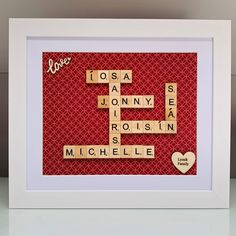 Beautiful family frame! #lawlorscrafts #familyframe #scrabbleframes #personalisedframes Scrabble Frame, Scrabble Art, Scrabble Tiles, Personalised Frames, Beautiful Family, Different Colors, My Etsy Shop, Handmade Gifts, How To Make