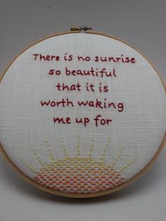 Funny Quote from The Mindy Project Modern Embroidery Hoop Wall Hanging Decor by This Took Sew Long on Etsy. #embroidery #mindykaling #themindyproject