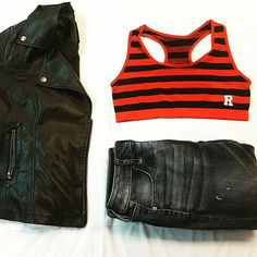0aae17ee730a7 Fall outfit ideas Faux leather jacket Red striped racerback
