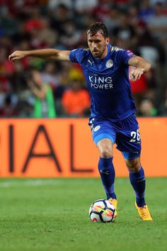 Christian Fuchs of Leicester City during the Premier League Asia Trophy match between Leicester City and West Bromwich Albion at Hong Kong Stadium on July 2017 in Hong Kong, Hong Kong. Christian Fuchs, West Bromwich, Leicester, Premier League, Hong Kong, Squad, Asia, Running, City