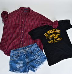 Mystery GRUNGE 90s outfit flannel shorts Tshirt / hipster indie 1990s / T Shirt / mystery outfit distressed cutoffs on Etsy, $39.00