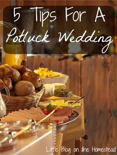 5 Tips for a Potluck Wedding. Come check it out! 5 Tips for a Potluck Wedding. Come check it out! 5 Tips for a Potluck Wedding. Come check it out! Potluck Wedding Reception, Diy Wedding Food, Wedding Reception Decorations, Wedding Backyard, Wedding Foods, Reception Table, Wedding Receptions, Wedding Ceremony, Backyard Bbq