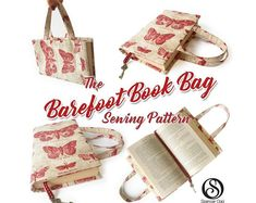 This is a tutorial to make a book bag for any size of book and comes with a free PDF pattern for a regular sized paperback to make your first book bag. The book bag makes a practical but stylish accessory, and they are easy to make. Pdf Sewing Patterns, Quilt Patterns, Bag Patterns, Sewing Hacks, Sewing Tutorials, Sewing Tips, Sewing Ideas, Hand Quilting, Modern Quilting