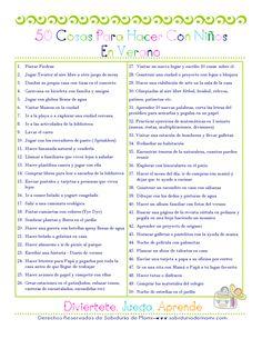 Sabiduría de Mami | 50 cosas para hacer con niños en Verano | http://www.sabiduriademami.com
