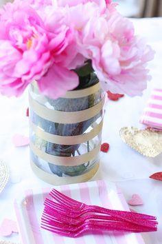 Glitzerndes Gold gestreiften Vase DIY