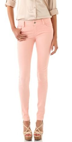 Pastel pink pants with nude button up and shoes