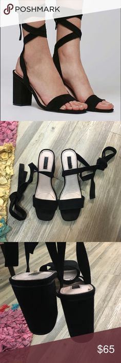 Topshop Rapping sandals Black suede heels with wrap around the ankle detailing. Super cute and comfortable. Amazing condition EXTREMELY light wear. No trades. Womens size 40 would fit a 9 Topshop Shoes Heels