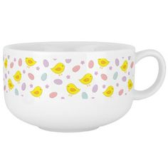 #Cute #Easter #pattern with chickens, eggs, flowers Soup #Bowl With Handle