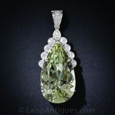 31.31 Carat Green Beryl and Diamond Pendant Necklace