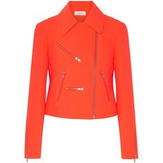 A.L.C. Ekberg neon crepe biker jacket (1.610 RON) ❤ liked on Polyvore featuring outerwear, jackets, bright orange, slim motorcycle jacket, orange motorcycle jacket, biker jackets, fluorescent jacket and red biker jacket