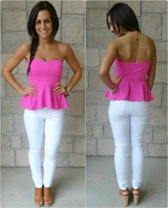 white jean, peplum tops, peplum shirts, nude wedges outfit, peplum top pink, outfit tho, pink top outfit, summer outfits, peplum top outfit