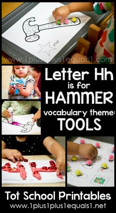 Tot School Printables Letter H is for Hammer ~ a free program for toddlers from @{1plus1plus1} Carisa #totschool Daycare Themes, Preschool Themes, Preschool Learning, Kindergarten Activities, Preschool Activities, Letter H Crafts, Letter H Activities, Teaching Letters, Preschool Letters