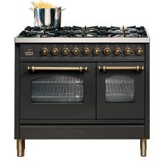 ILVE Nostalgia freestanding range w/ double oven - matte black with brass trimmings