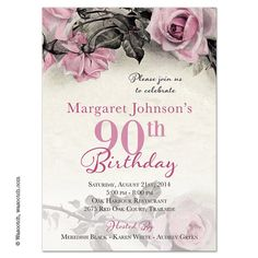 Vintage Pink Grey And Ivory Rose Illustration Adult 90th Birthday Invitations Designed By Wasootch For Lemon Leaf Prints