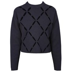 PROENZA SCHOULER LS Crewneck Open Argyle in Navy ($300) ❤ liked on Polyvore featuring tops, sweaters, cut-out tops, cut out sweater, cutout sweater, blue argyle sweater and proenza schouler sweater
