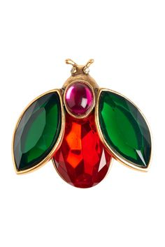 Oscar de la Renta brass and crystal insect brooch
