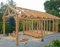 Queen post frame in timber frame home building Timber Frame Homes, Timber Frames, Shed Design, House Design, Shed Frame, Timber Garage, Gazebo, Pergola, Lean To