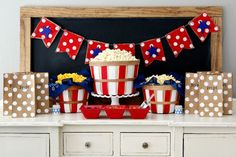 eighteen25: Fourth of July Popcorn Bar love the pop polka dot bags...love the choices of popcorn mix ins!