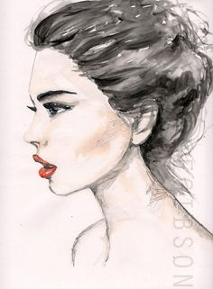 Water colour and pencil side view illustration by Lucy Alice Gibson #sideview #fashionillustration #watercolour: