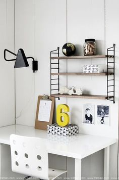 Tuesday Tips - Trend Pop of colour Hege in France photo by Trettien Home Bedroom, Kids Bedroom, String Shelf, Teenage Room, Monochrome Bedroom, Interior Design Kitchen, Kitchen Designs, Apartment Interior, Boy Room