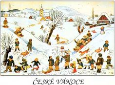 České Vánoce-Josef Lada In History - Old Czech Christmas Cards & Postcards Vintage Christmas Images, Christmas Art, Epic Art, Artist Names, Diy Cards, Homemade Cards, Graphic Illustration, Illustrators, Childhood