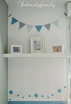 Guirlande fanion bleu gris blanc étoile papier | Chambre bébé ...