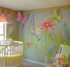 Over-sized flowers and lovely wall art make this a vivacious nursery-- love love love the mixture of colors!!